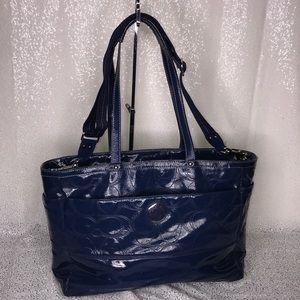 COACH Blue Patent Leather Diaper Bag Large